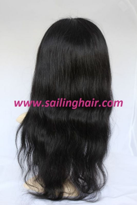 Indian Virgin Hair Full Lace Wig 20 inch Natural Straight Color 1